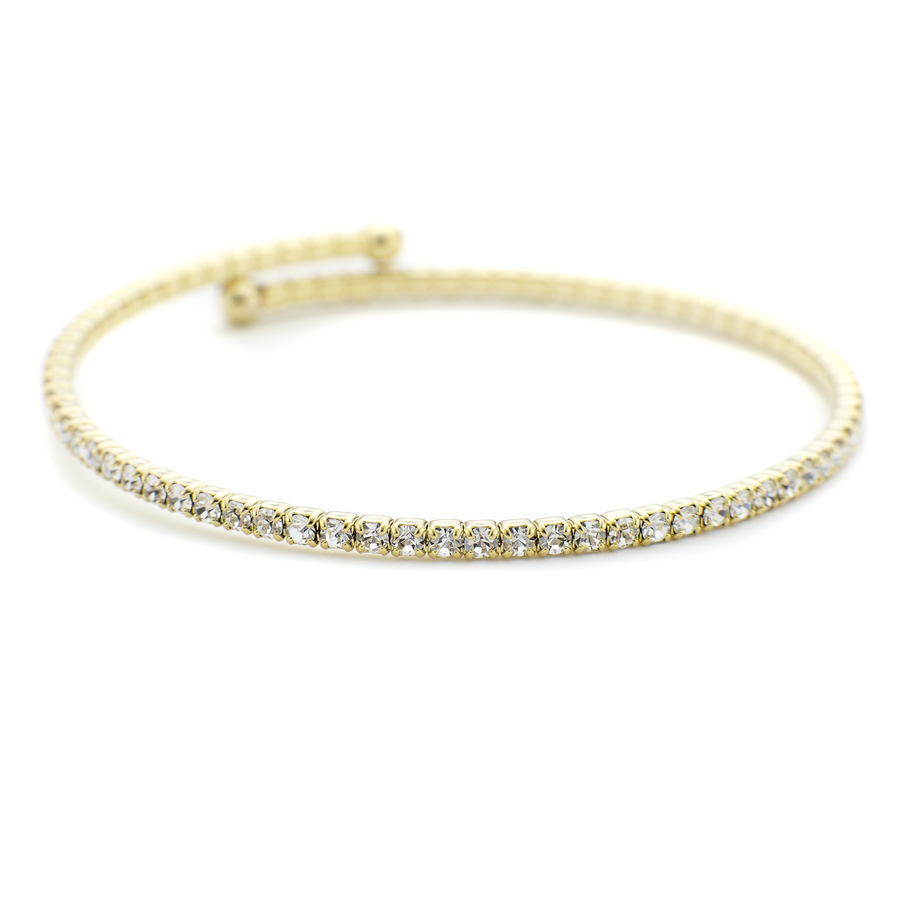 Yellow gold stackable lightweight bangle with crystals brass based adjustable size constellations collection One by One