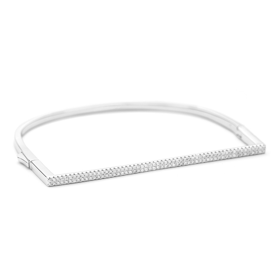 Flat front sterling silver Allobar crystal cuff bangle with white rhodium finish from One by One