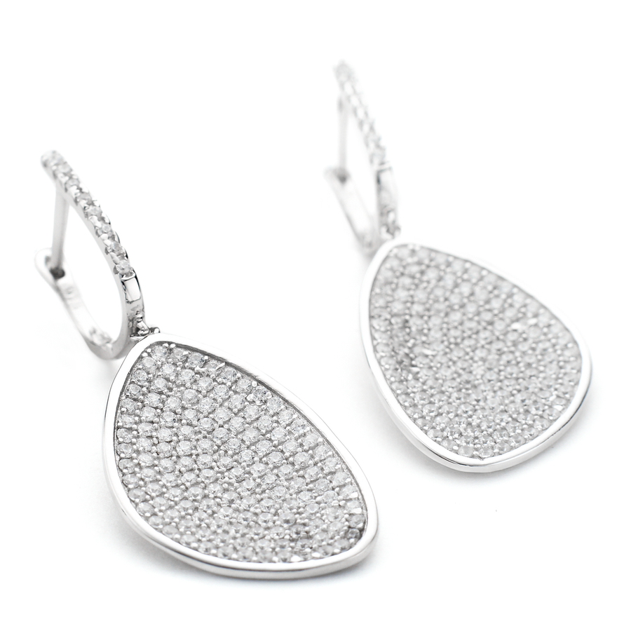 Constellations collection drop earrings with pave set crystals organic shape in sterling silver One by One
