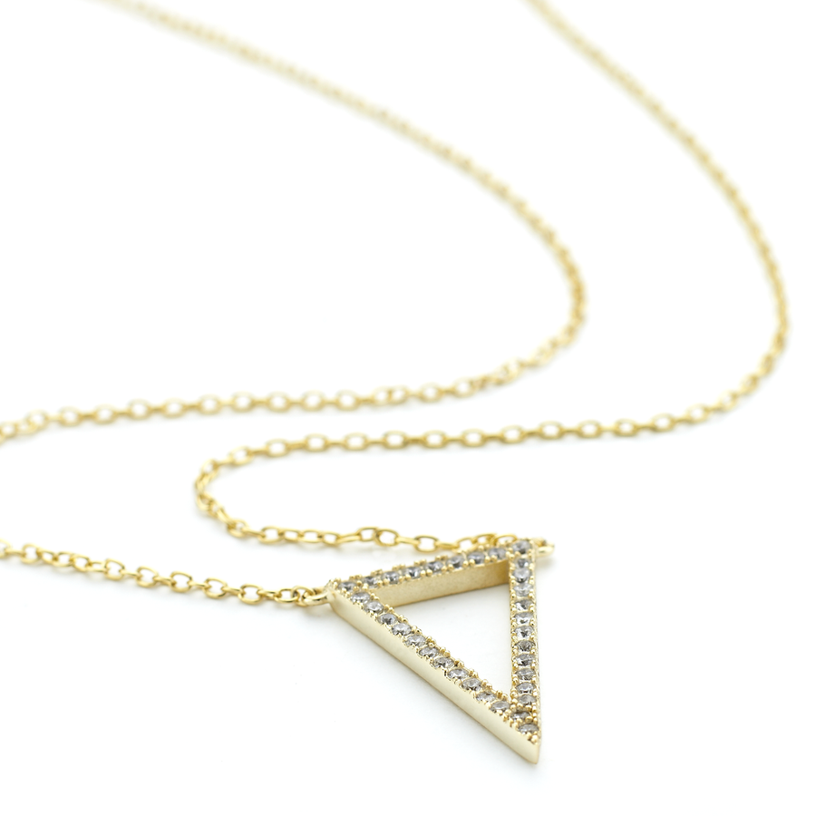 Triangular prism necklace with crystals in yellow gold from the Allobar collection of One by One