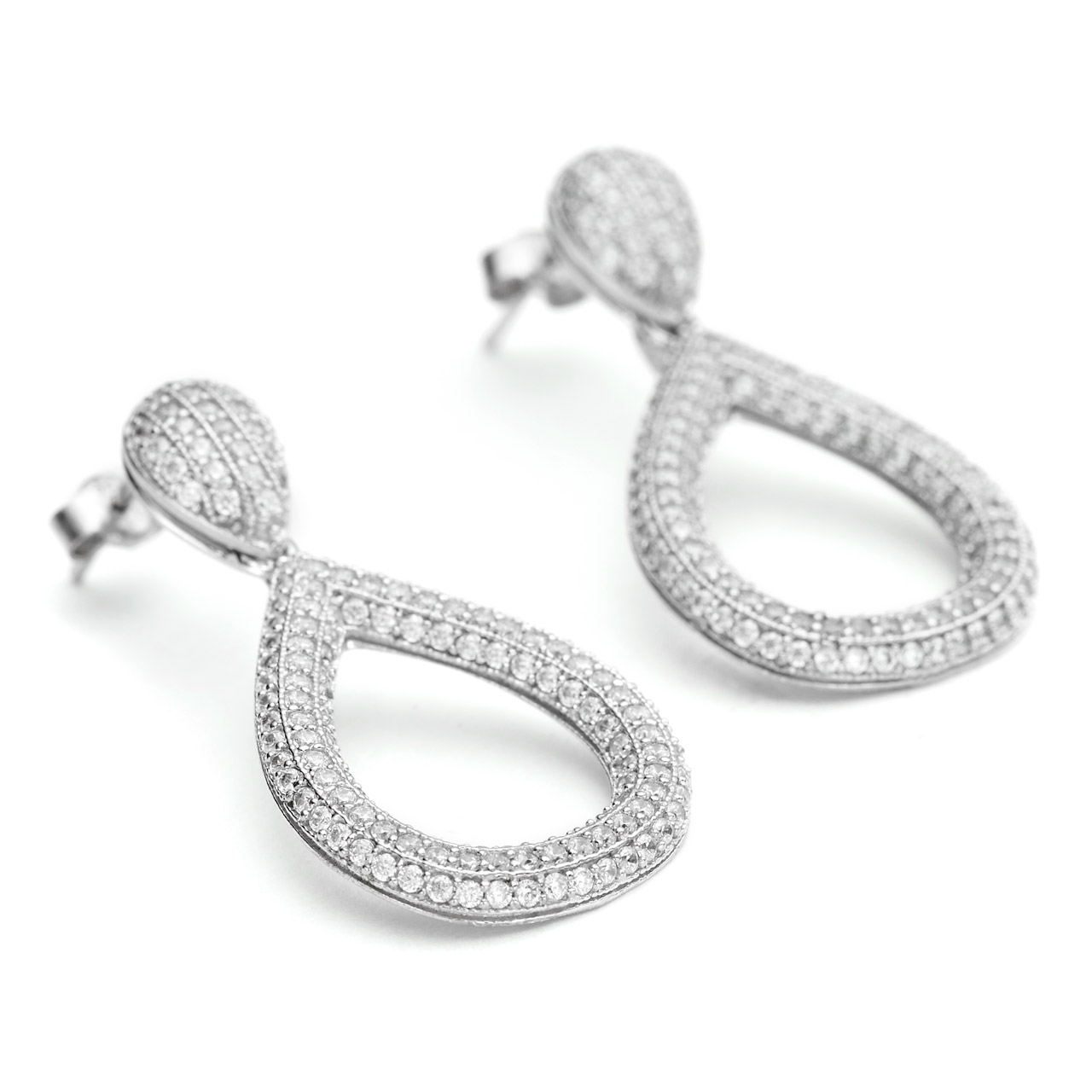 f31118fd8 Constellations collection solid shape teardrop earrings in 925 sterling  silver and white rhodium finish
