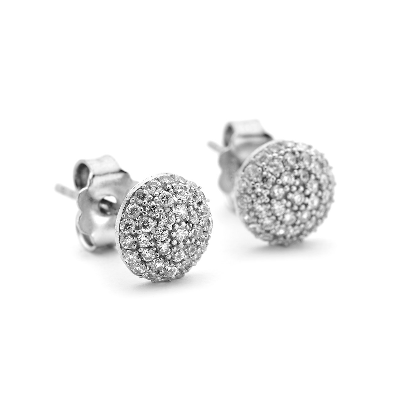 pave crystal round domed studs in sterling silver ce7f8abf7c
