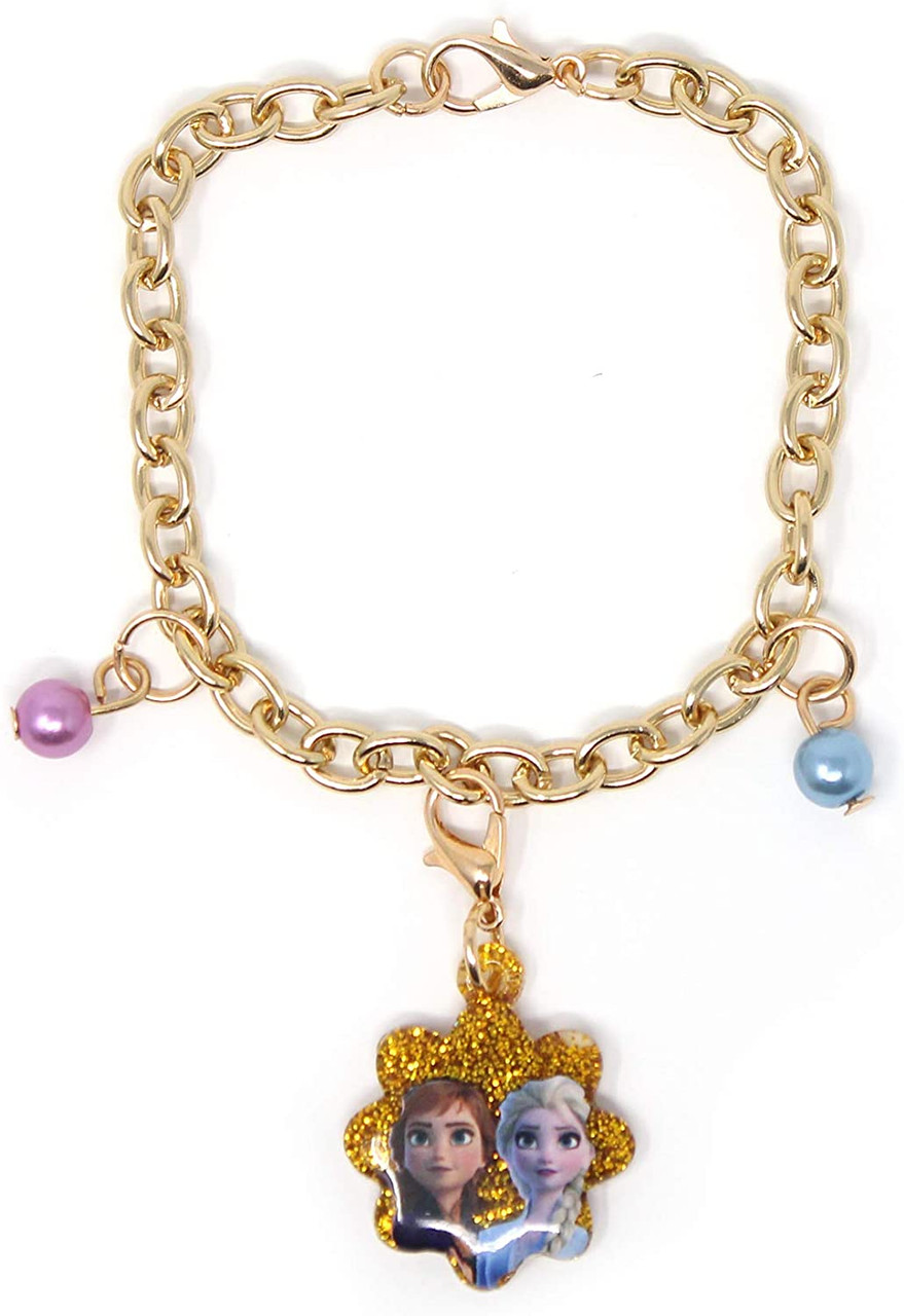 Anna Elsa /& Olaf Disney Frozen Accessories Charm Bracelet /& Necklace Set