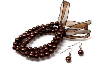 Brown Pearls Bracelet and Earrings Set