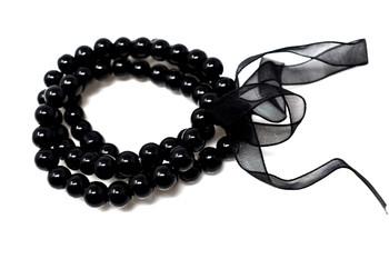 Black Pearls Bracelet and Earrings Set