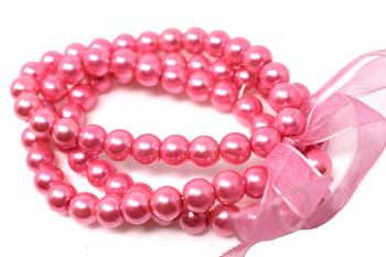 Pink Pearls Bracelet and Earrings Set