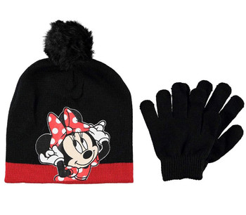 Disney Minnie Mouse: Black Beanie Glove Set
