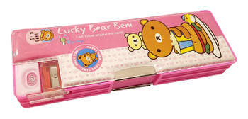 Lucky Bear Beni: Pencil Case with Sharpener (Pink)