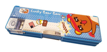 Lucky Bear Beni: Pencil Case with Sharpener (Blue)