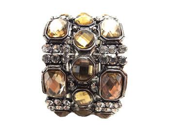 "Vintage ""Golden Stones"" Silver Bracelet Bangle Cuff"