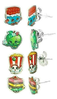 SHOPKINS: 4 Pair Earring Set