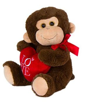 """Cuddle Brown Monkey Plush """"Love"""" 14"""""""