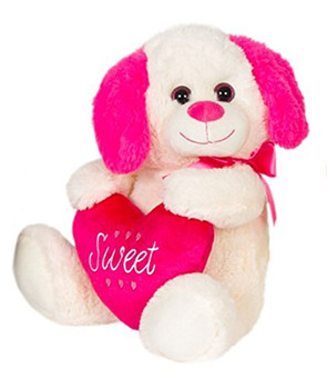 "Cuddle White Doggie Plush ""Sweet"" 14"""