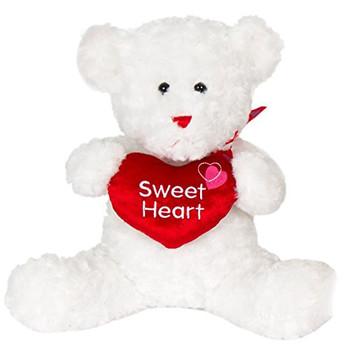 "Cuddle White Teddy Bear Plush ""SWEET HEART' 14"""