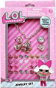 Lol Surprise Jewelry Set Necklace Rings and Stickers Earrings