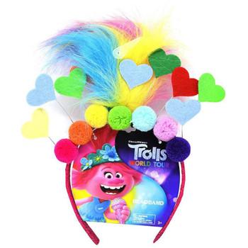 Trolls World Tour headband -  Fax Hair Hearts & Poms