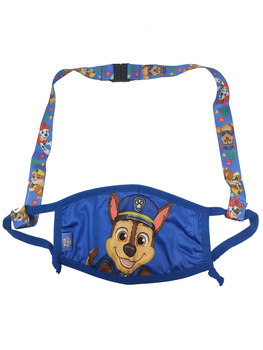 Paw Patrol Chase Resusable Face Masks w/ Blue Neck Strap Set