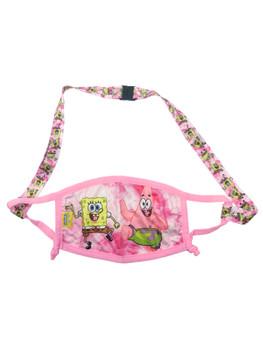 Spongebob Squarepants Reusable Face Mask Pink w/ Removable Strap