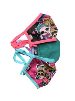 Girls LOL Surprise 3 Pack Reusable Face Masks BFF4Eva Queen Bee Miss Punk Teal