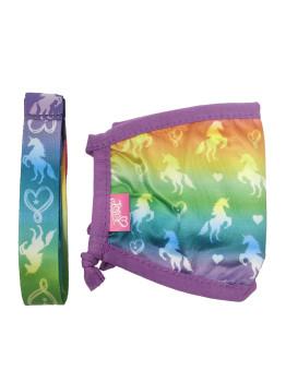 JoJo Siwa Face Mask Unicorns Purple w/ Tie Dye Removable Strap