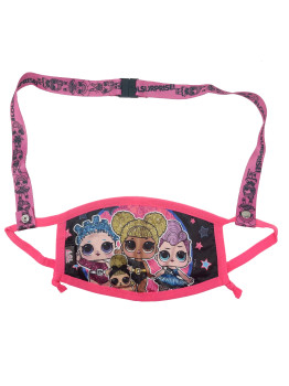 LOL Surprise Reusable Face Mask Pink w/ Removable Strap Queen Bee