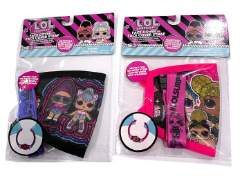LOL Surprise 2 Pack Kids Reusable Face Mask Cover Black Kitty and Pink Queen Bee w/ Removable Strap
