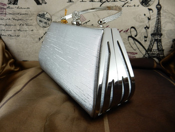 Evening Purse Silver Hard Case Crown clip