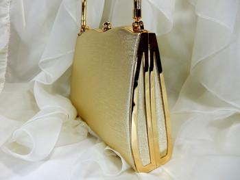 Evening Purse Golden Hard Case Gem Clip Style E804