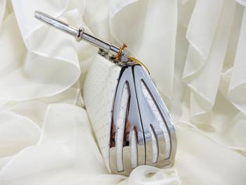 Evening Purse White Hard Case Gem Clip Style E365
