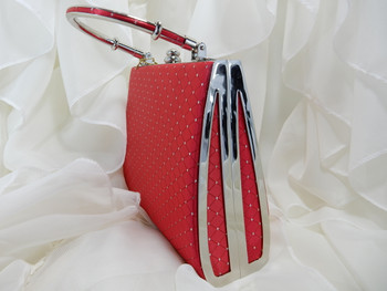 Evening Purse Red Hard Case with a Rhinestone Gem Clip StyleE368