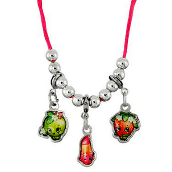 Shopkins 3 Charms Necklace (Lipstick, Apple and Strawberry)