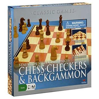 Staunton Style 3 Game Set Chess-Checkers & Backgammon