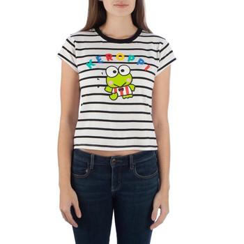 Sanrio Keroppi Striped Cropped Junior Tee/ T-Shirt  Large