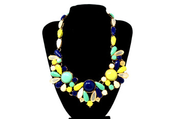 Golden Multicolor Fashion Vibrant Neon Bib Necklace