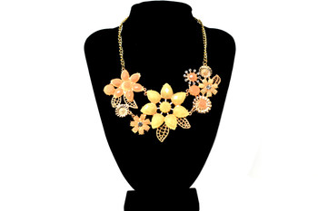 Golden Beige and Coral Fancy Flowers Bib Necklace