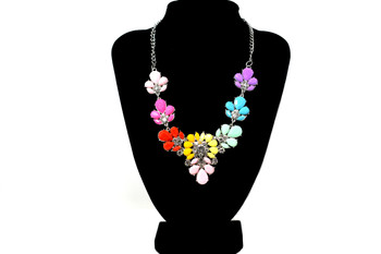 Silver Multicolor Flowers and Leaves Bib Necklace