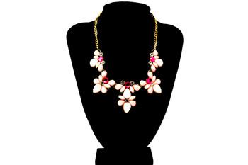 Golden Pink Flowers Bib Necklace