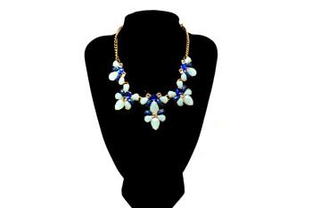 Golden Blue Flowers Bib Necklace
