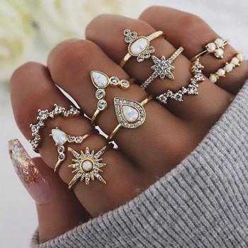 Sparkling Roone Vintage Ring 10 Pieces Set