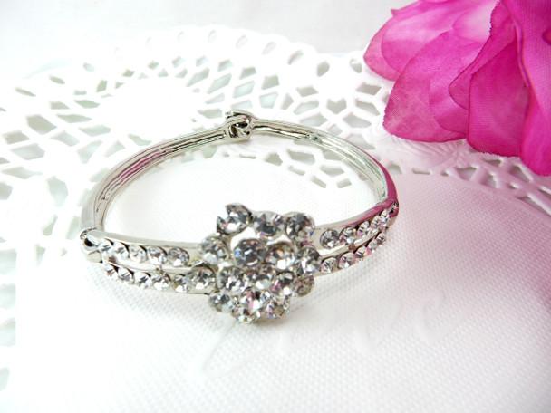 Crystal Rhinestone Flower design Bracelet Bangle