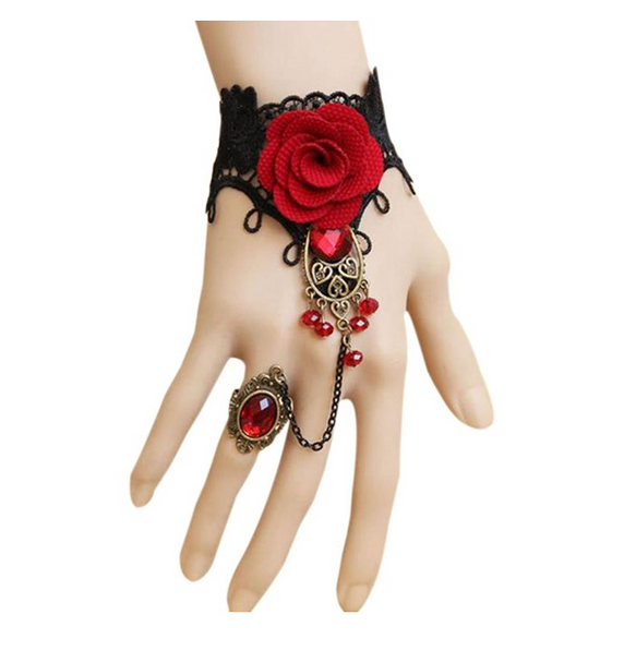 Gothic Style Lace Bracelet with Adjustable Finger Ring