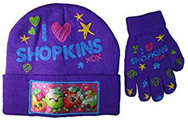 Shopkins Youth Beanie Hat and Gloves Set