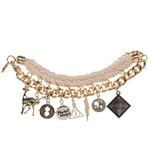 Harry Potter Official Gold and Cord Multi Charm Bracelet - Deathly Hallows