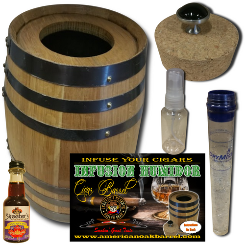 Infusion Humidor Cigar Barrel™ from Skeeter's Reserve Outlaw Gear™ - MADE BY American Oak Barrel™ - Canadian Rye Whiskey