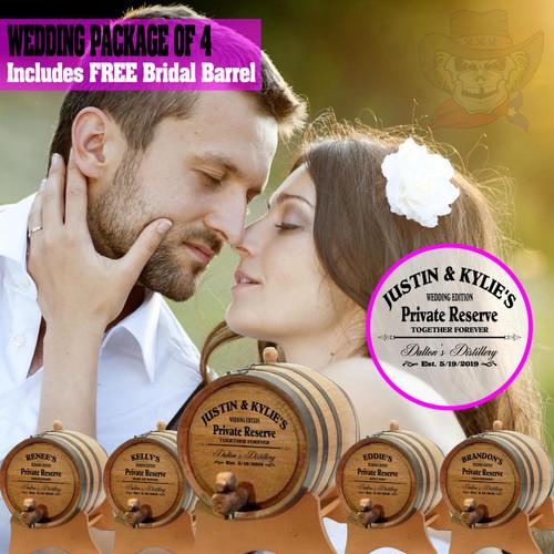 Wedding Package - Party Of 4 + FREE Bridal Barrel - Engraved Commemorative Barrels