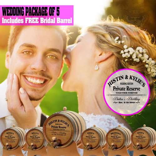 Wedding Package - Party Of 5 + FREE Bridal Barrel - Engraved Commemorative Barrels