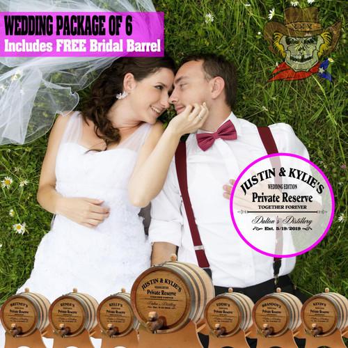 Wedding Package - Party Of 6 + FREE Bridal Barrel - Engraved Commemorative Barrels