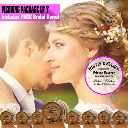 Wedding Package - Party Of 7 + FREE Bridal Barrel - Engraved Commemorative Barrels