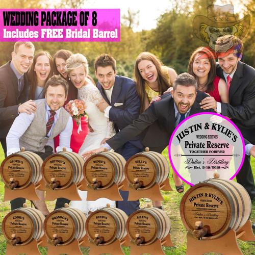 Wedding Package - Party Of 8 + FREE Bridal Barrel - Engraved Commemorative Barrels