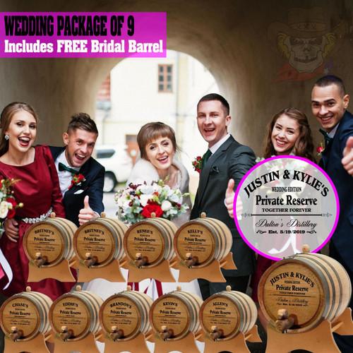 Wedding Package - Party Of 9 + FREE Bridal Barrel - Engraved Commemorative Barrels